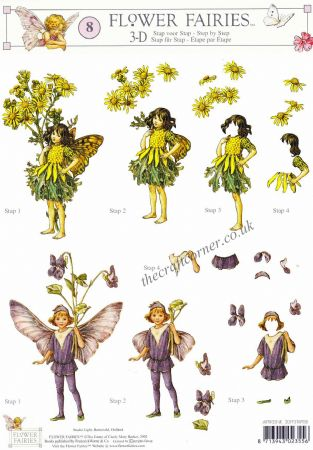 Flower Fairy 8 Ragwort & Violet Flower Fairy by Cicely Mary Barker 3d Decoupage Sheet